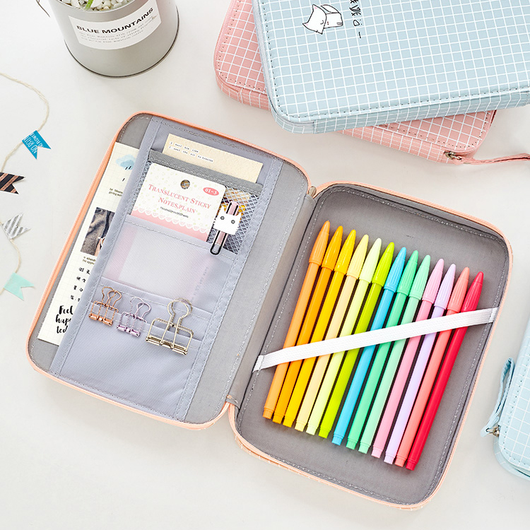 Pencil Case Multifunctional Canvas Zipper Stationery Storage Bag Cosmetic Pouch With Lots Of Compartments School Supplies