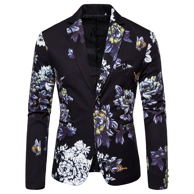 White Black Green Mens Flower Coats Asian Size S M L XL XXL XXXL Mens Blazer Jacket Slim Design