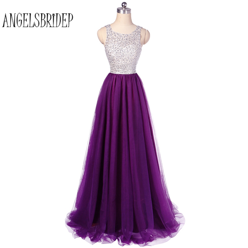 ANGELSBRIDEP Charming Purple Prom Dress Featuring Sheer Bateau Neckline 2018 Long Tulle vestidos de fiesta Formal Evening Gown