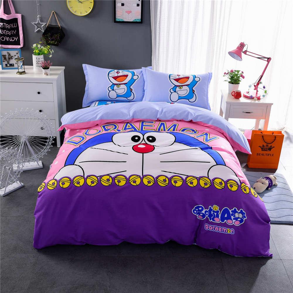 Girls purple bedding - Doraemon Prints Bedding Set Bedspreads Girls Childrens Bed Duvet Covers Cotton 500tc Woven Twin Full Queen
