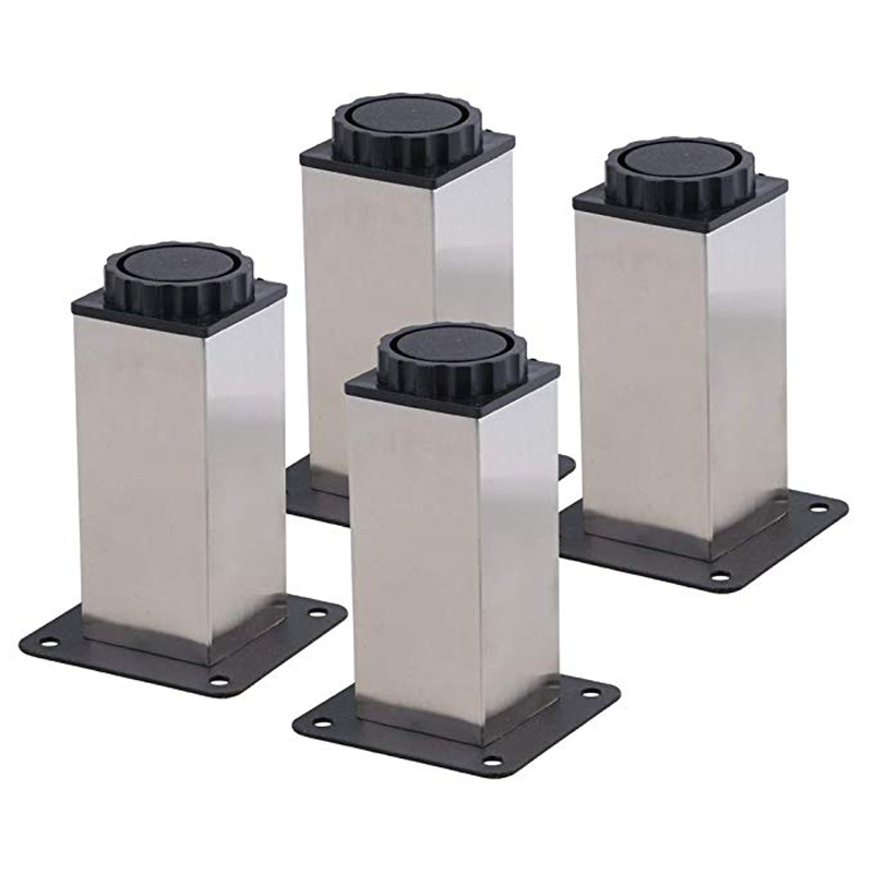 4PCS Furniture Cabinet Metal Legs Kitchen Adjustable Stainless Steel Feet Square 80/100/200MM