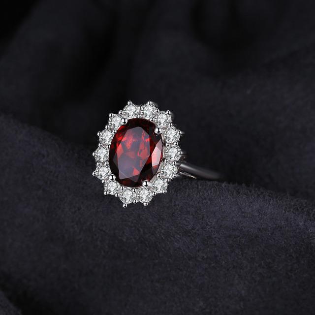 Princess Diana Garnet Halo Ring