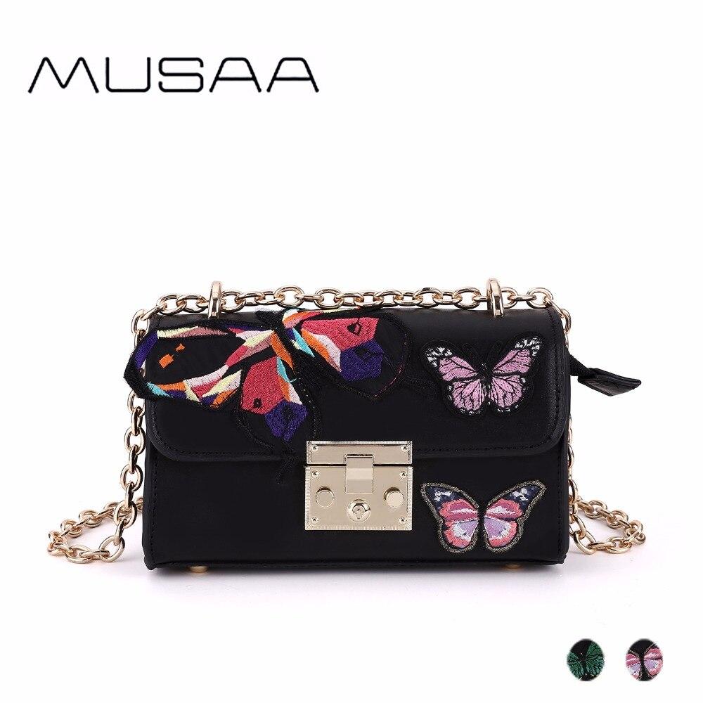 MUSAA chaîne bandoulière sacs à bandoulière pour les femmes broderie de mode Appliques Noir vintage Petit sacs de postier Bolso