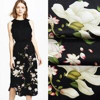 118*125CM 19MM White Lotus Print Stretch Smooth Black Silk Satin Fabric Good for Summer Dress Skirt Shirt Pants JH028