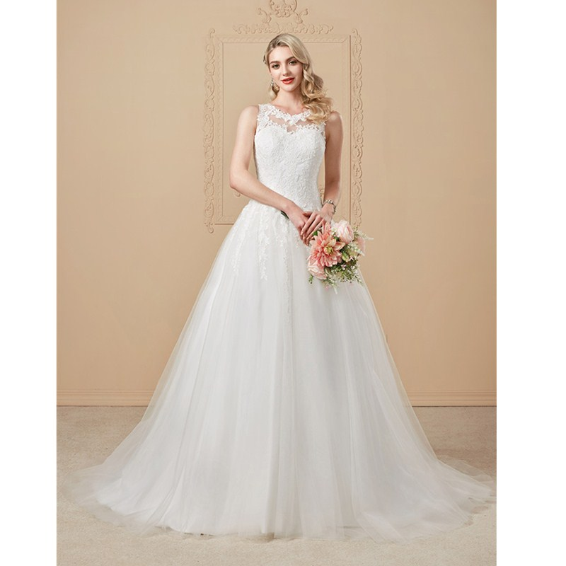 LAN TING BRIDE A-Line Princess Jewel Neck Court Train Lace Over Tulle Custom Wedding Dresses with Appliques Button