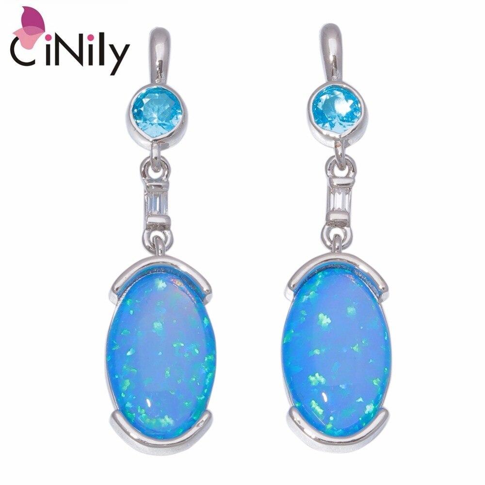CiNily Bule White Fire Opal Topaz Silver Plated Women Jewelry Gems Pendant