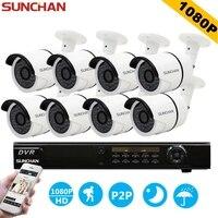 SUNCHAN 1080P Full HD AHD 8CH DVR 8pcs 2 0MP 2000TVL IR Bullet Security Camera 36pcs