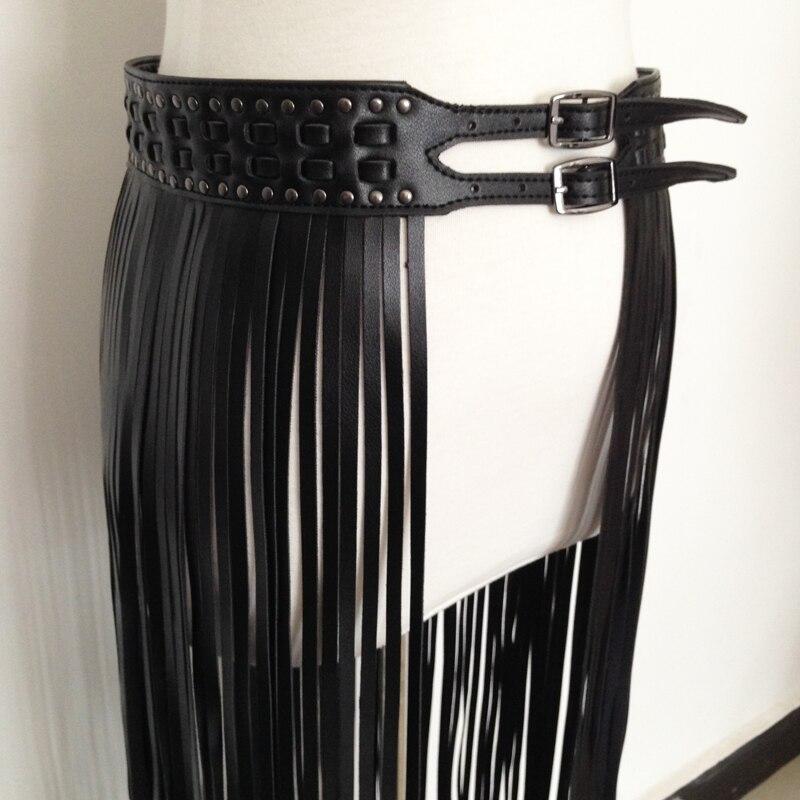White Color Punk Rock Fashion Belt Faux Leather Metal Studs Buckle Size S M L XL