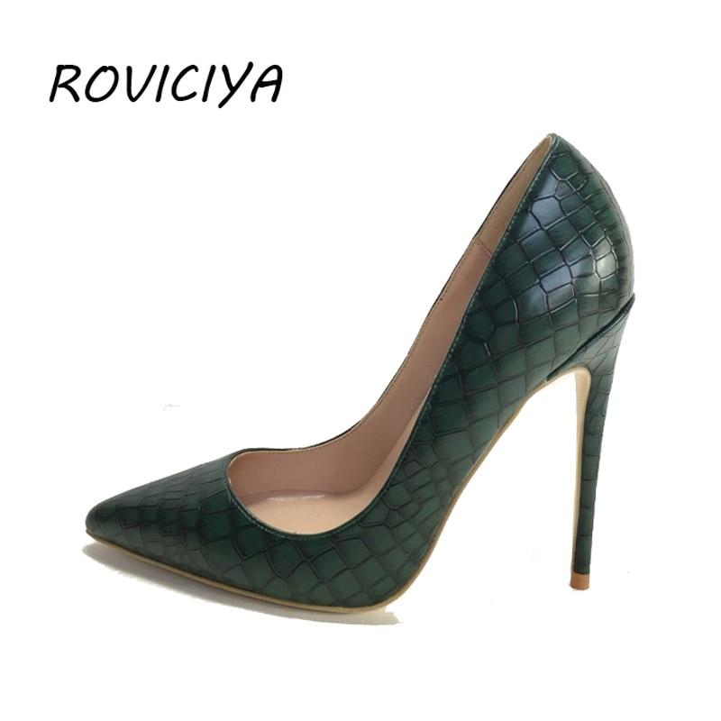 Dark Green PU Leather Women's Shoes 12cm High Heel Sexy Pumps Women Shoes plus size 34 45 YG002 ROVICIYA