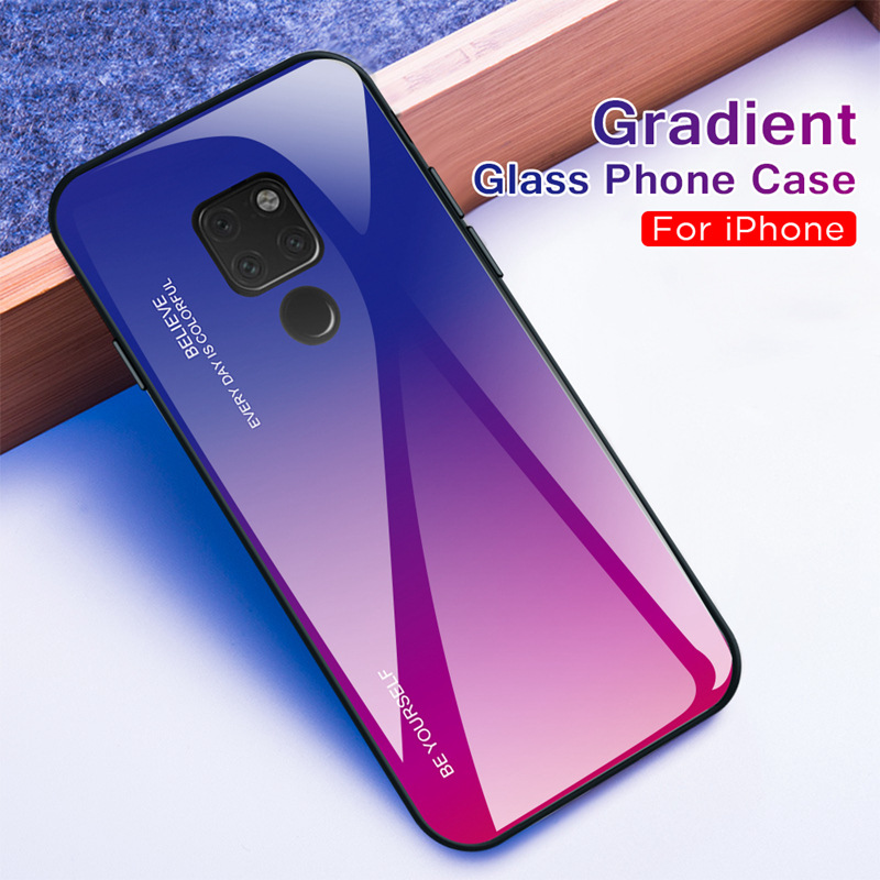 Gradient Glass Phone Case For Huawei P Smart 2019 P20 P30 Pro Lite Mate 20 Mate 10 Pro Lite Colorful Cover Shell for huawei P30 in Fitted Cases from Cellphones Telecommunications