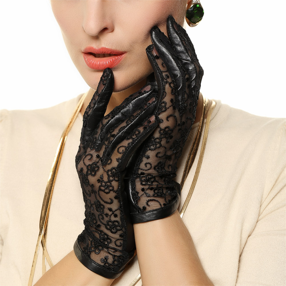 Womens colored leather gloves - Medival Lolita Women Lace Genuine Leather Gloves Wrist 2017 Top Fashion Lady Dressing Solid Lambskin Glove