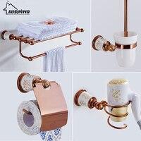 European Towel Rack Paper Holder Hooks Bath Hardware Set Copper Racks Rose Gold Ceramic Base Bathroom Hardware Accessories YM6