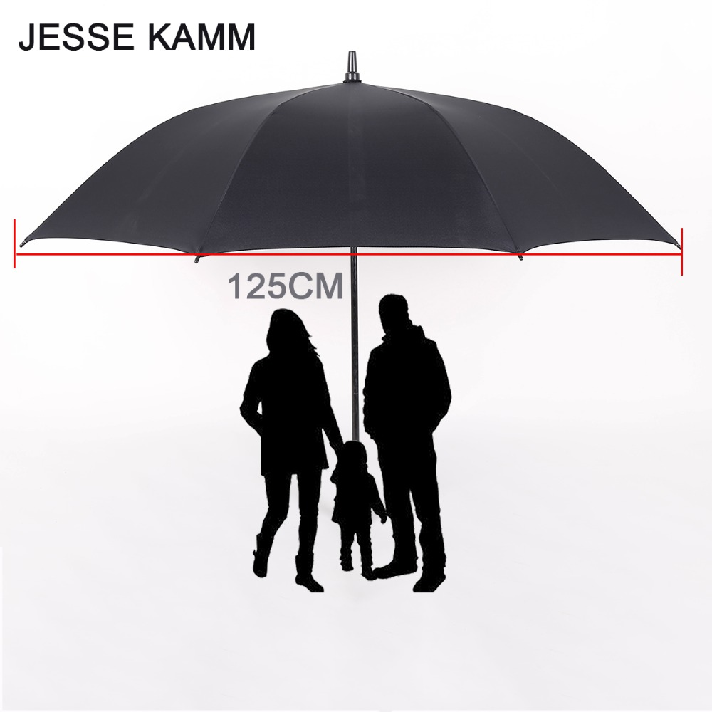 JESSEKAMM Large Strong Golf Long hand Stick Rain Auto Open Umbrellas Suit For 2-3 People Family Student 125CM 190T Pongee Canopy