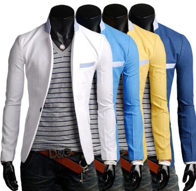 Brand Men Blazers Navy Blue White Blaser Masculino Blazer Male 2014 Colorful Slim Casual Jacket Suit - Elegant girl NO 1 store