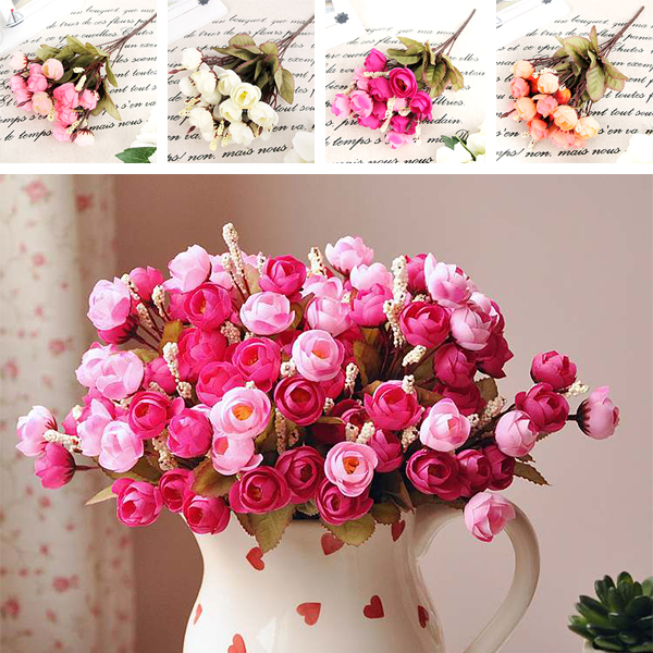 Artificial red rose spring silk flowers 18 flower heads camellia artificial red rose spring silk flowers 18 flower heads camellia magnolia floral wedding peony bouquet hydrangea decor mightylinksfo