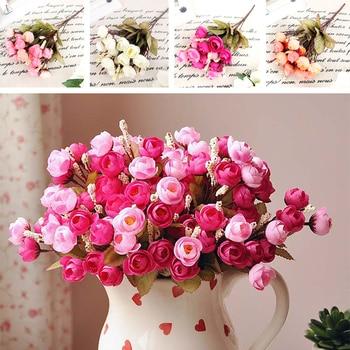 Artificial Red Rose Spring Silk Flowers 18 Flower Heads Camellia Magnolia Floral Wedding Peony Bouquet Hydrangea Decor rose