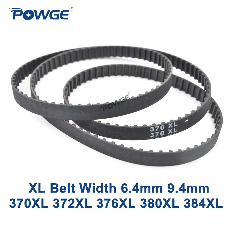 POWGE XL Timing belt 370/372/376/380/384 Width 025 037 Teeth 185 186 188 190 192 Synchronous Belt 370XL 372XL 376XL 380XL 384XL 10pcs 190 380