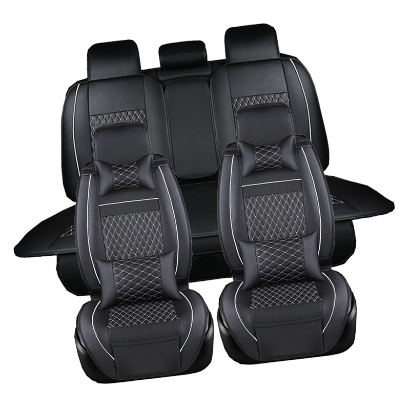 Leather Car Seat Covers Black Luxury Universal Fit Interior Single seat cushion For Skoda Octavia Superb Yeti Rapid Fabia
