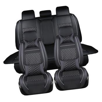 Leather Car Seat Covers Black Luxury Universal Fit Interior Single seat cushion For Skoda Octavia Superb Yeti Rapid Fabia