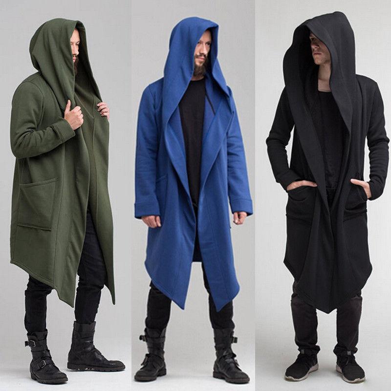 Fashion Mens Hoodie Coat Long Outwear Tops Jacket Actviewear Cardigan Hooded Cloak Jacket Solid Winter Autumn Cardigan Outwear