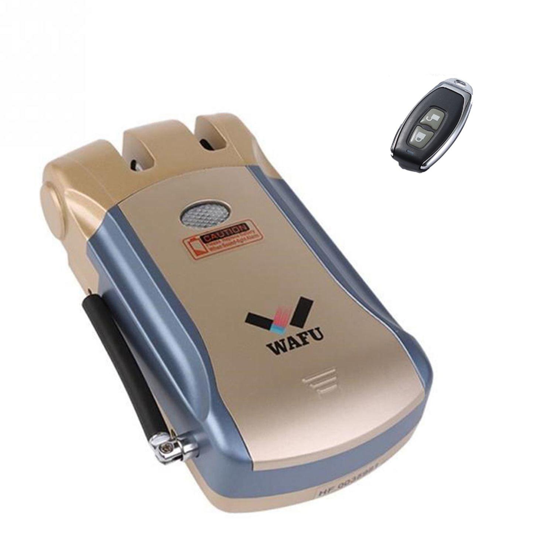 WAFU Nouveau Sans Fil Invisible de Sécurité D'entrée Sans Clé électronique Serrure De Porte Maison Intelligente Télécommande Smart Lock avec 4 À Distance Clés