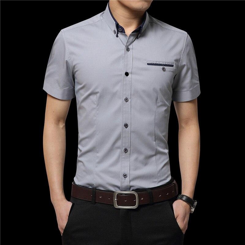 2019 sommer Männer Kurze Hemden Casual Shirts Hemden Feste Hemden - Herrenbekleidung - Foto 5