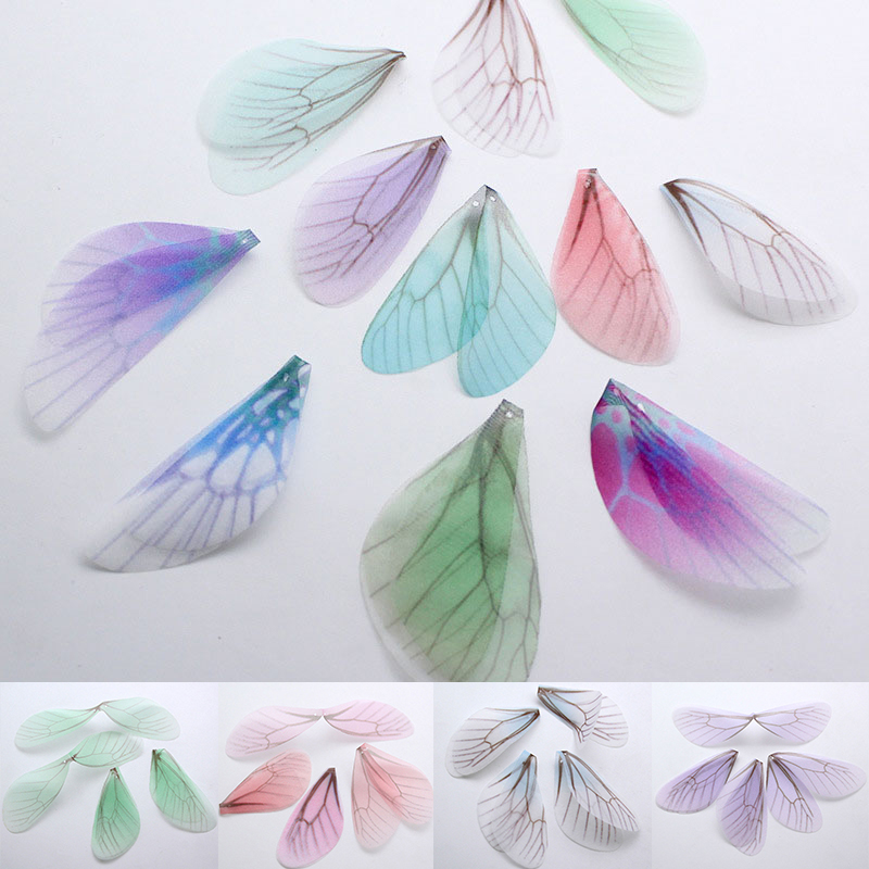 10Pcs/Lot New Creative Charms Chiffon Yarn Dragonfly Wing Pendant Connector For Diy Earrings Jewelry Making Material Accessories