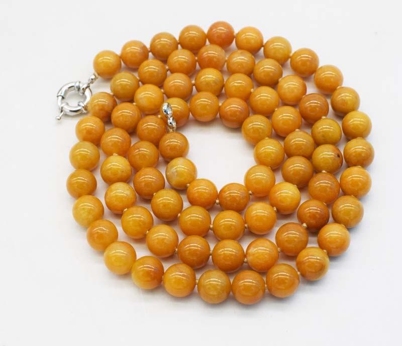 դեղին topaz կլոր 10 մմ մանյակ 32inch մեծածախ - Նուրբ զարդեր - Լուսանկար 2