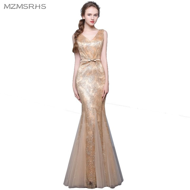 Long Mermaid Evening Dress 2017 Gold Black Silver Burgundry Red Lace ...
