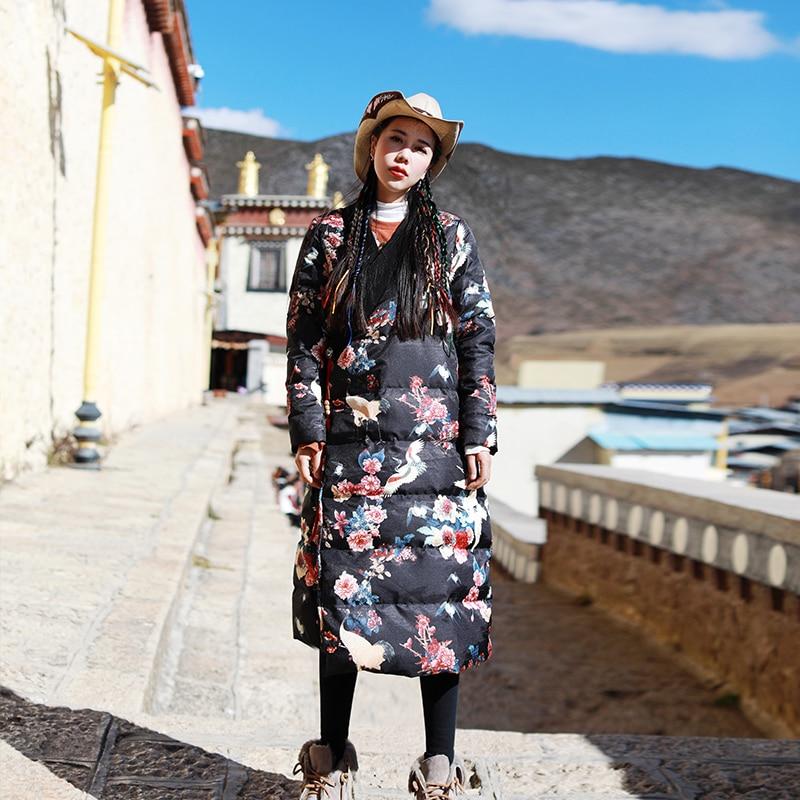 Épaissir Mince De Nouveauté Personnalité Hiver Femmes Floral Parkas Style Long Imprimé Veste cou Noir Chinois Chaud V nP8HRw