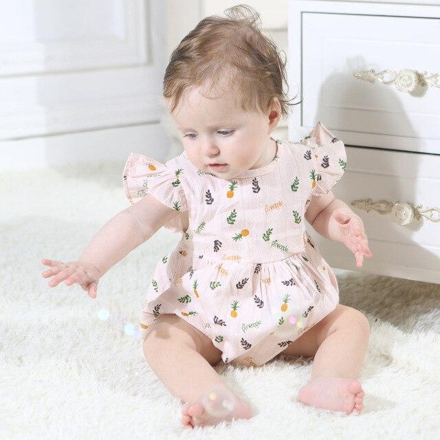 New Born Baby Girl Macacão Infantil Verão Modis Bodysuit Abacaxi Impressão Sopro Manga Macacão de Bebê Roupa Gêmeo Jogo Do Miúdo terno