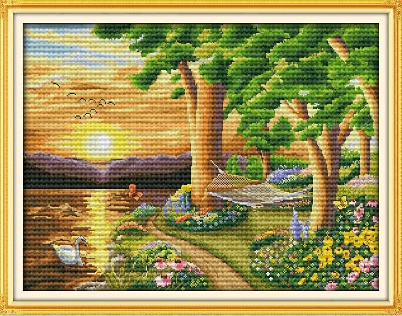 ᗕCrepúsculo Cisne paisaje costura, DMC puntada de cruz, set para ...