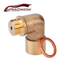 SPEEDWOW M18X1.5 90 Degree O2 Oxygen Sensor Lambda Extension Spacer Brass For Decat /Hydrogen