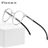 Titanium Alloy Optical Glasses Frame Men Ultralight Round Myopia Prescription Eyeglasses 2019 Male Korean Screwless Eyewear 984