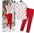 Новые поступления женские одежда комплект губы сексуальный принт топы блузка брюки 3 штук лето костюмы костюм женское