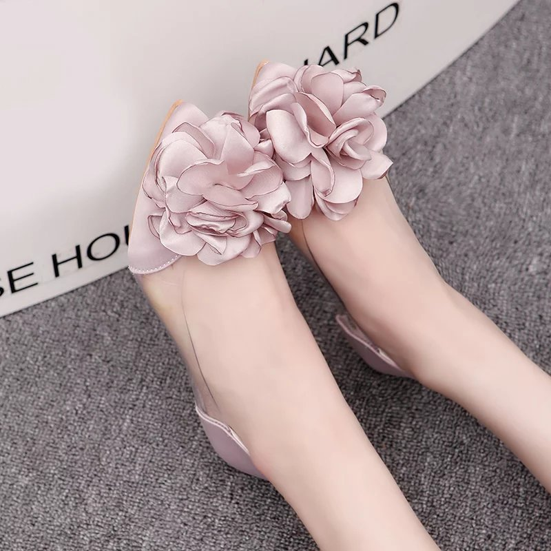 SLHJC 2017 Autumn Camellia Flat Heel Pointed Toe Shoes Sweet Silks Satin Flower Shallow Mouth Transparent Flats Summer Sandals slhjc 2017 autumn flat heel shoes pointed toe women flats with metal chain real fur loafers work shoes d25