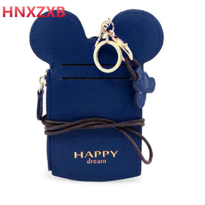 cartoon animal pu card holders cute students prize women simple hasp bus ID Carte sets key chain cards case Organizer for girl цена