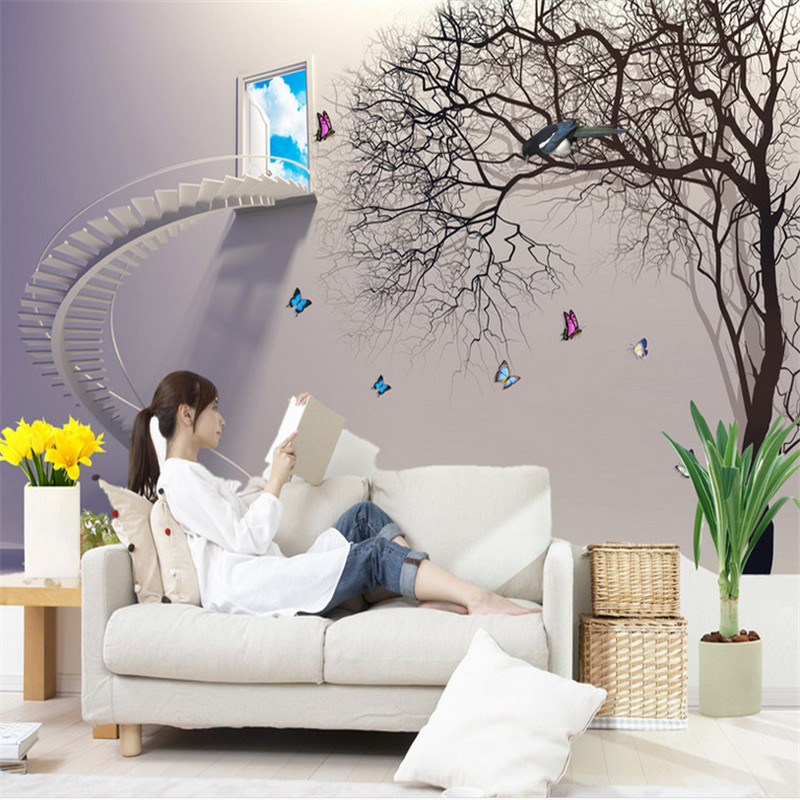 customizable modern 3d high quality non-woven mural wallpaper staircase abstract tree study bedroom background wall home decor modern non woven wall paper home decor background wall damask wallpapers top quality floral wallcovering 3d hd wallpaper bedroom
