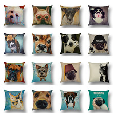 цена на Dog Print Cushion Cover Cotton Linen Sofa Seat Case Car Pillowcase Home Decorative Pillow Cases 45x45cm