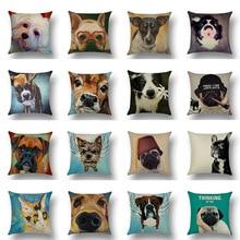 Dog Print Cushion Cover Cotton Linen Sofa Seat Case Car Pillowcase Home Decorative Pillow Cases 45x45cm uneven wood print linen sofa pillowcase