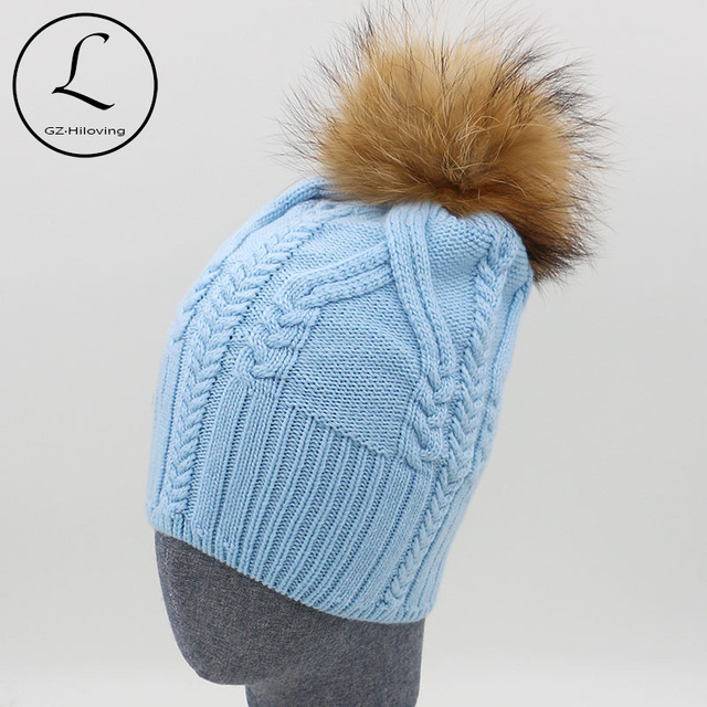 GZHILOVINGL Brand Winter Hats For Women Zipper Striped  Beanies Cap Knitted Hat Natural Fur Pompom Caps Female Gorros 16523F1