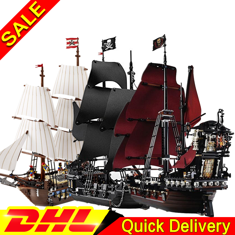 LEPIN 16006 Black Pearl Ship   + 16009 Queen Anne's revenge+ 22001 Imperial Warships Pirates Series Toys Clone 4184 4195 10210 new bricks 22001 pirate ship imperial warships model building kits block briks toys gift 1717pcs compatible 10210