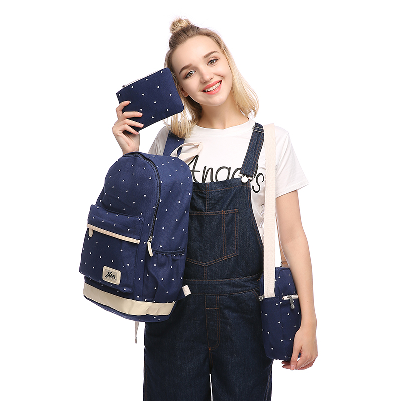 3pcs/set 2016 newest women backpack high quality dot school bags for teenage girls travel student bag set purse canvas backpacks