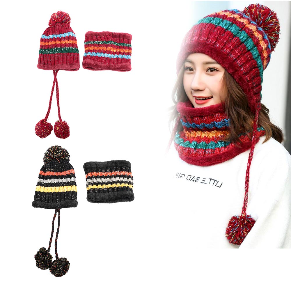Fashion Winter Women Knitted Hat Scarf 2Pcs Set  Wool Thickening Hat Collars Female Warm Hat Scarf Windproof  Caps