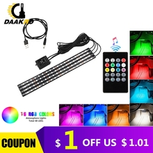 4PCS Ultra דק RGB 12 48 LED רכב אוטומטי פנים ניאון אווירה רצועת אור מוסיקה שלט רחוק בקר צבעוני DC 12V 10W
