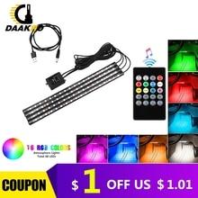 4PCS Ultra Sottile RGB 12 48 LED Auto per Interni Neon Atmosfera Luce di Striscia Musica Regolatore di Telecomando Colorato DC 12V 10W