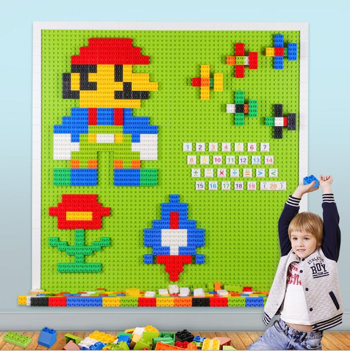 Big Bricks Baseplate 38.5*38.5cm 24*24 Dots DIY Base Plate Board For Children Building Block Base Compatible With Legoed Duploed new big size 40 40cm blocks diy baseplate 50 50 dots diy small bricks building blocks base plate green grey blue