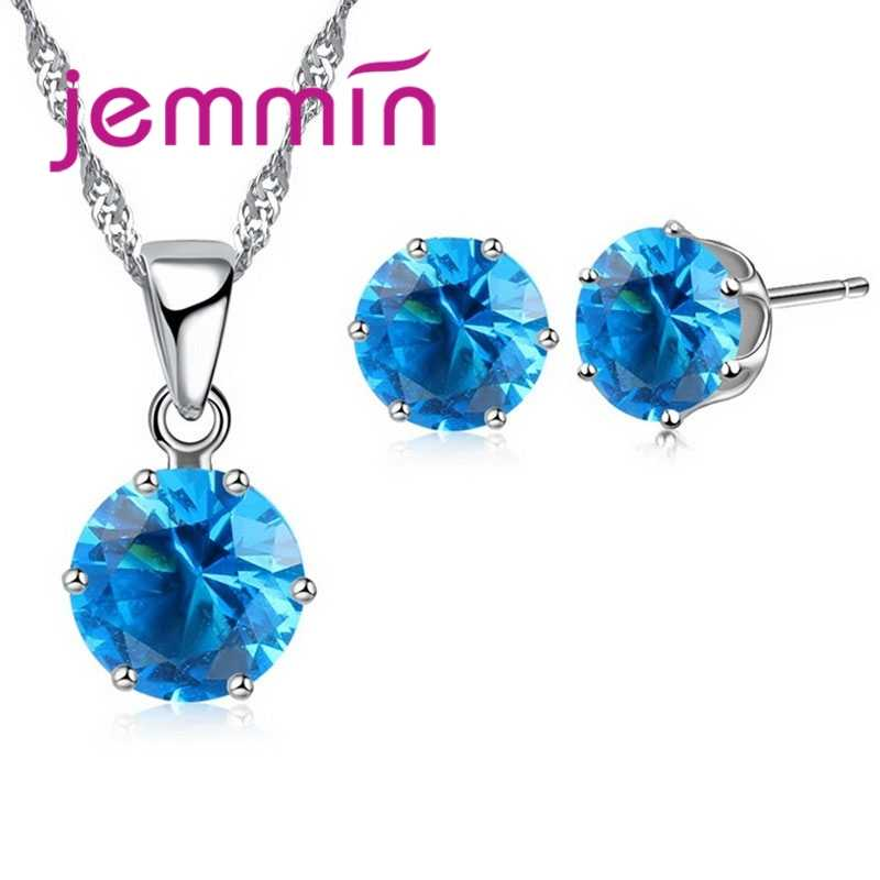 New Arrival Factory Price 8 Colour Crystal 925 Sterling Silver Stud Earrings Necklace Set Women Party Jewelry Set