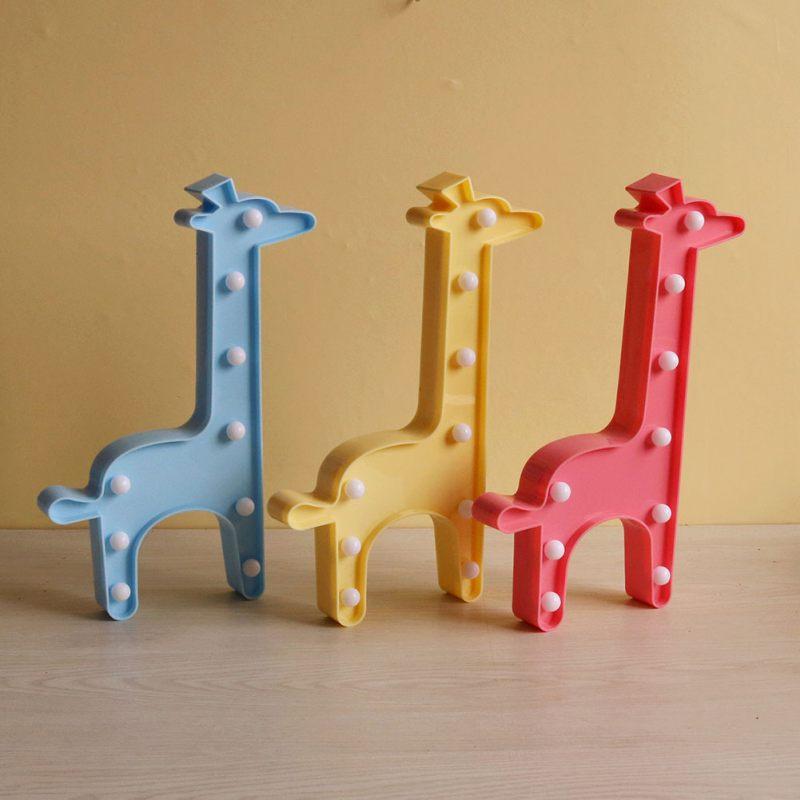 3D LED Shine Flamingo Pineapple Cactus Giraffe Night Lamp Marquee Letter Nightlight for Kids Home Decor Christmas Birthday Gift