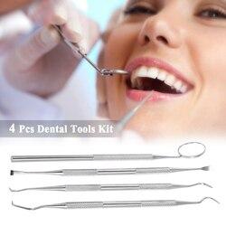 4 Pcs Zähne Bleaching Kit Dental Instrument Werkzeuge Edelstahl Veneers für Zähne Zahnarzt Seks Zahn Schaber Scaler Pick Set Spiegel